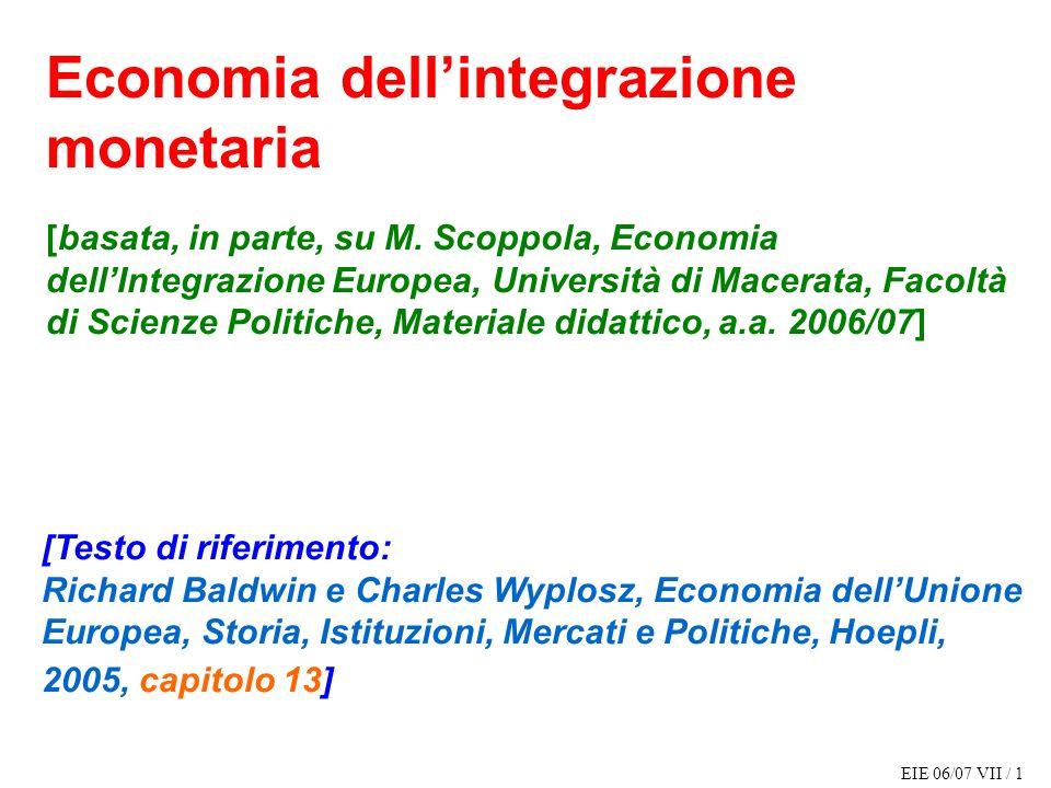 Economia dell'integrazione monetaria [basata, in parte, su M